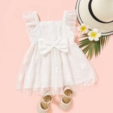Toddler Girls Ruffle Trim Bow Mesh Overlay Dress