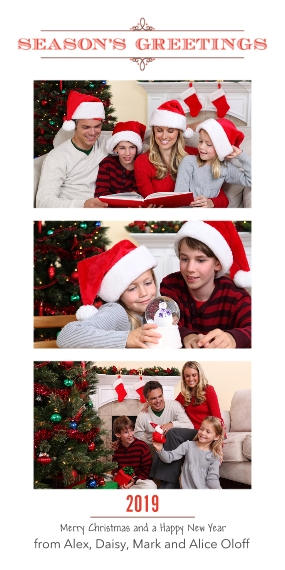 Christmas Photo Cards Flat Matte Photo Paper Cards with Envelopes, 4x8, Card & Stationery -Red Season's Greetings