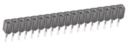 Samtec , CES 2.54mm Pitch 18 Way 1 Row Straight PCB Socket, Through Hole, Through Hole Termination
