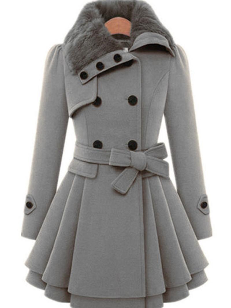 Ericdress Double-Breasted Plain Mid-Length Belt Coat