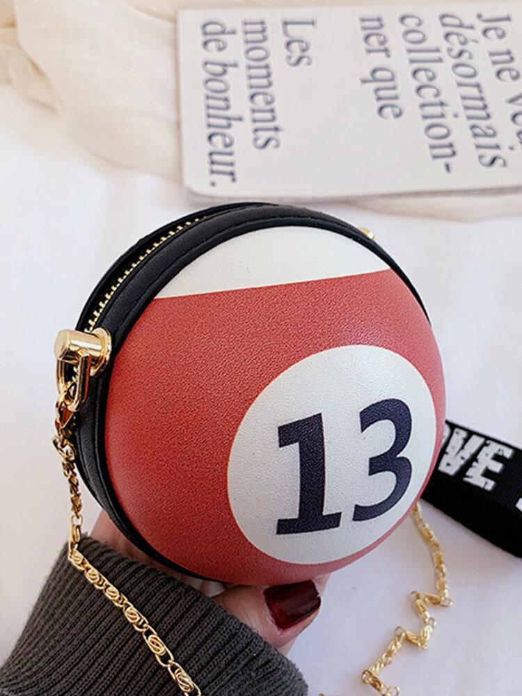 Women Billiards Basketball Chains Small Round Bag Handbag Crossbody Bag
