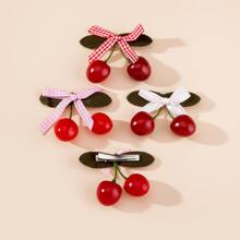 4pcs Toddler Girls Cherry Decor Hair Clip