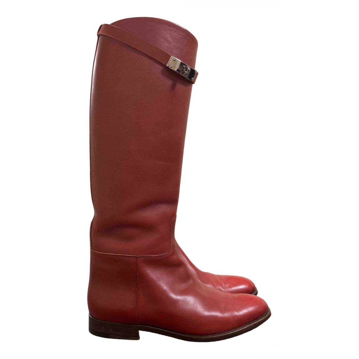 Hermes - Bottes Jumping pour femme en cuir - rouge