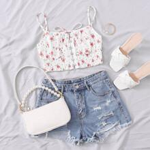 Hook and Eye Tie Front Shirred Ditsy Floral Cami Top