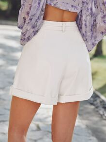 Fold Pleat Detail Cuffed Hem Belted Faux Leather Shorts