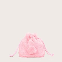 Girls Fluffy Drawstring Bucket Bag