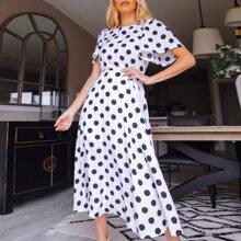 Butterfly Sleeve Polka Dot Flare Dress