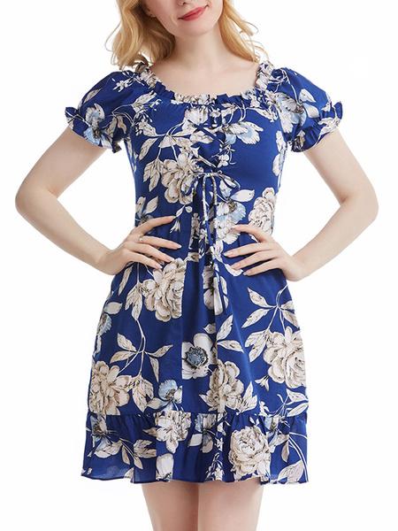 Milanoo Summer Dresses Jewel Neck Printed Lace Up Open Shoulder Blue Knee Length Sundress