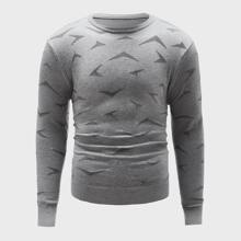 Guys Geo Pattern Crew Neck Sweater
