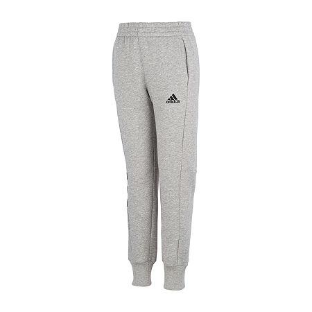 adidas Big Boys Mid Rise Cuffed Jogger Pant, Small (8) , Gray