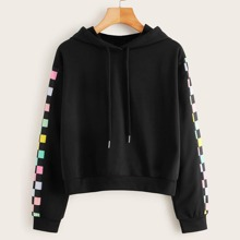 Colorful Checkered Black Hoodie