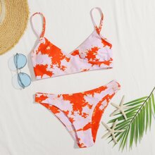 Tie Dye Surplice Neck Bikini Swimsuit
