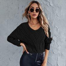 Einfarbiger Pullover mit sehr tief angesetzter Schulterpartie und Schlitz