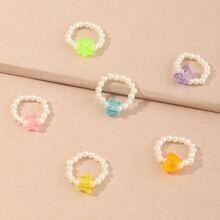 6 Stuecke Kleinkind Maedchen Ring mit Stern und Perlen Dekor