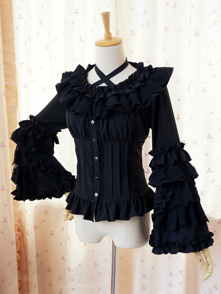 Milanoo Sweet Lolita Blouse Lace Long Hime Sleeves Neck Straps Round Ruffles Collar