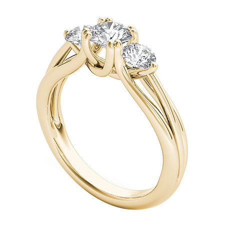 Womens 1 CT. T.W. Genuine White Diamond 14K Gold 3-Stone Engagement Ring, 7 , No Color Family