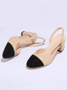 Cap Toe Slingback Chunky Heels