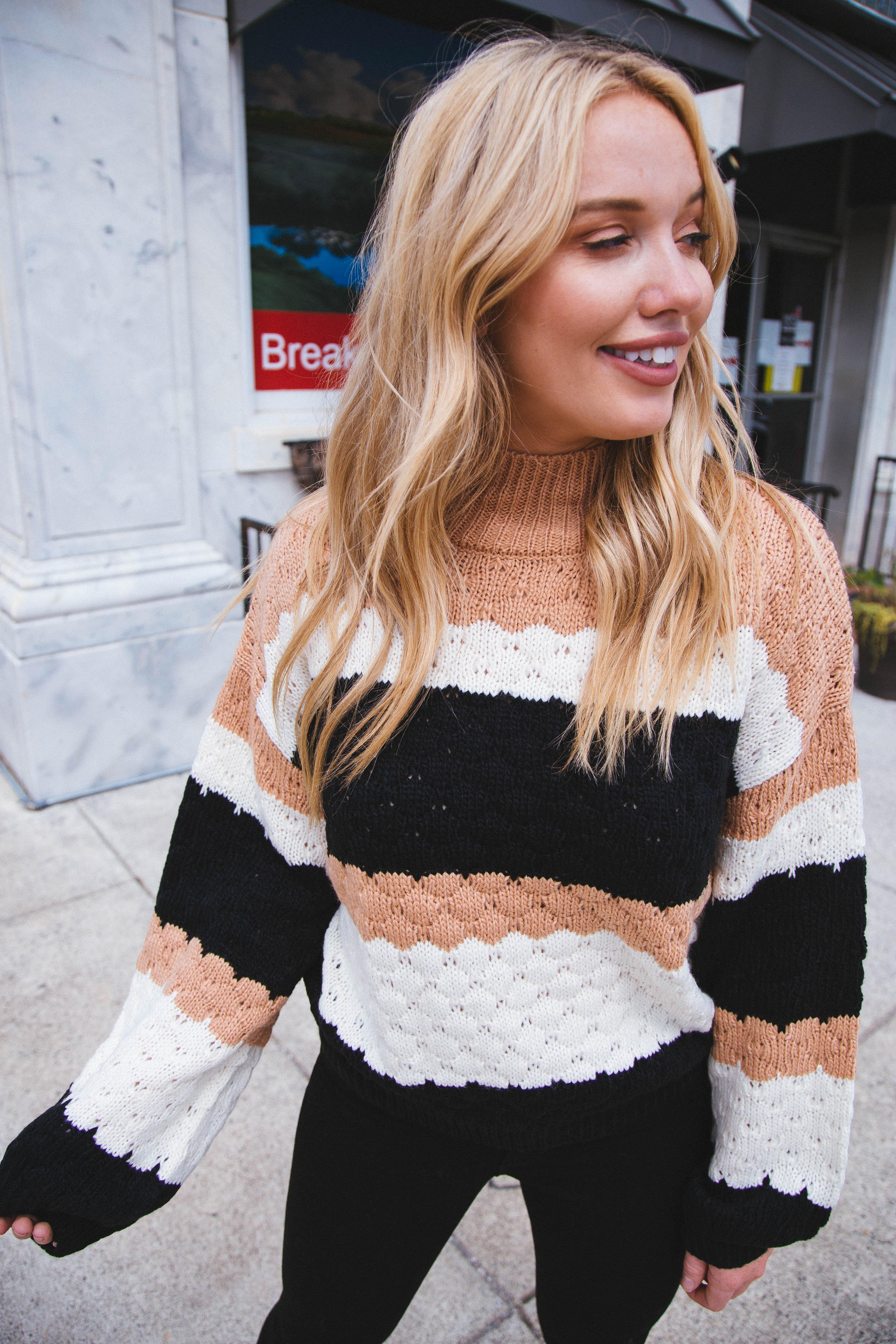 Monty Color Block Sweater Black Multi