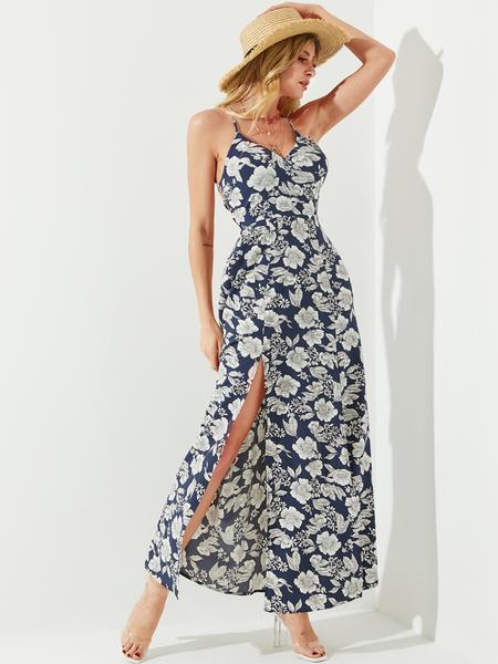 YOINS Navy Backless Random Floral Print Slit Hem Sleeveless Dress