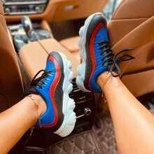 Lace Up Front Color Block Chunky Sneakers