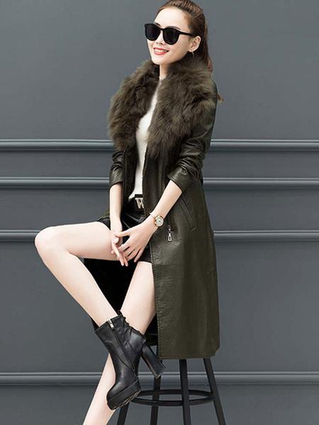 Milanoo Abrigo de mujer negro manga larga bolsillos abrigo informal