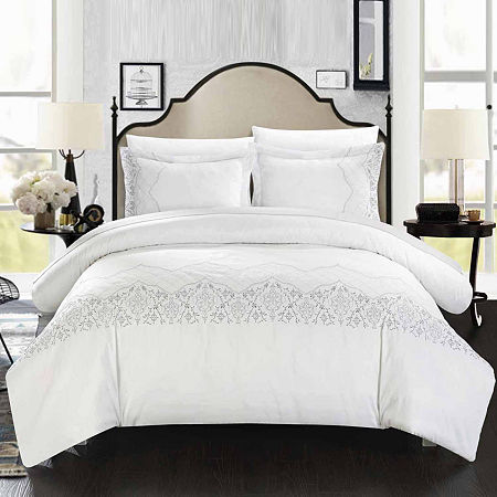 Chic Home Sophia 3-pc. Embroidered Duvet Cover Set, One Size , White