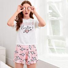 Rueschensaum Buchstaben  Suess Pyjama Sets