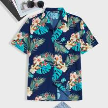Guys Notched Collar Tropical Print Shirt