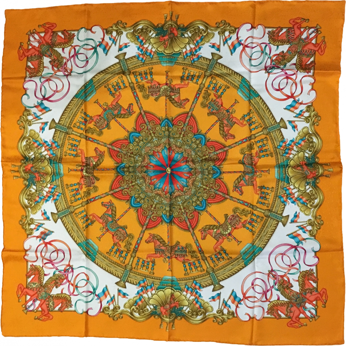 Hermès Carré Géant silk 140 Orange Silk scarf for Women \N