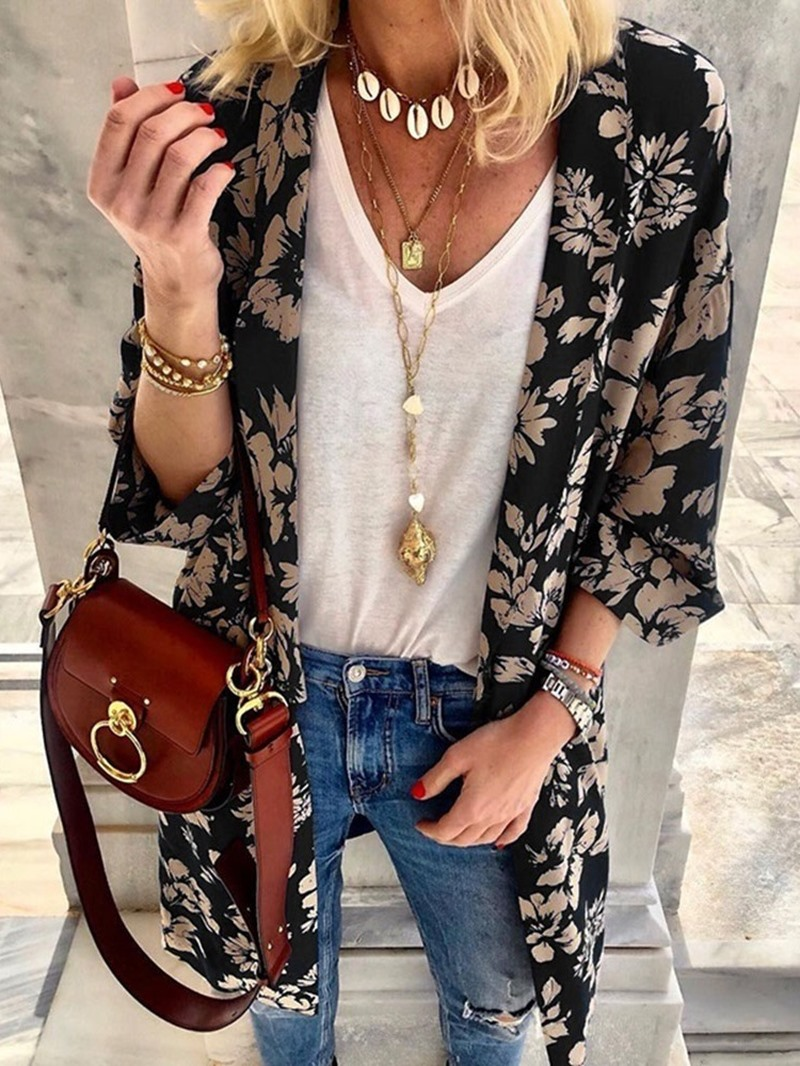 Ericdress Print Mid-Length Wrapped Casual Trench Coat