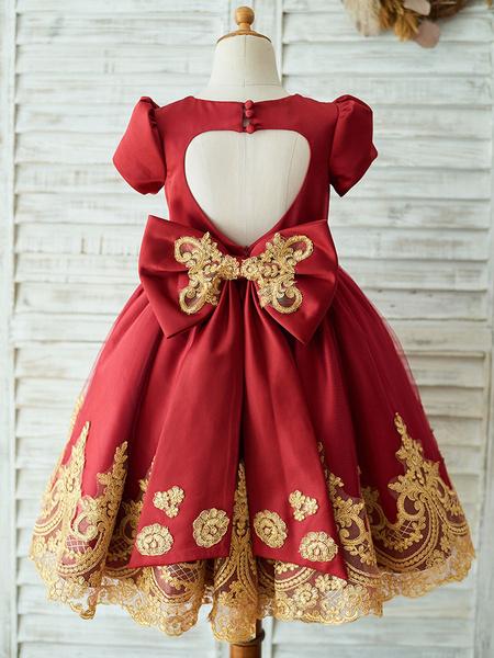 Milanoo Flower Girl Dresses Burgundy Jewel Neck Short Sleeves Knee Length Lace Kids Party Dresses