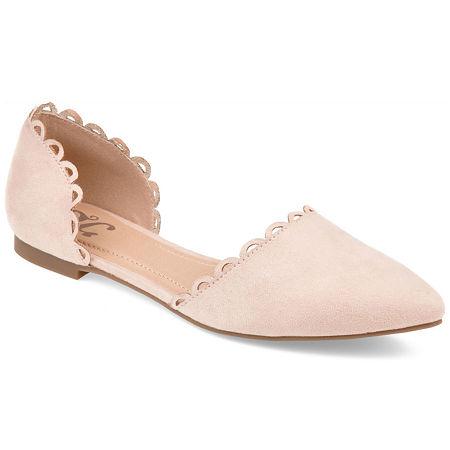 Journee Collection Womens Jezlin Slip-on Pointed Toe Ballet Flats, 7 1/2 Medium, Beige
