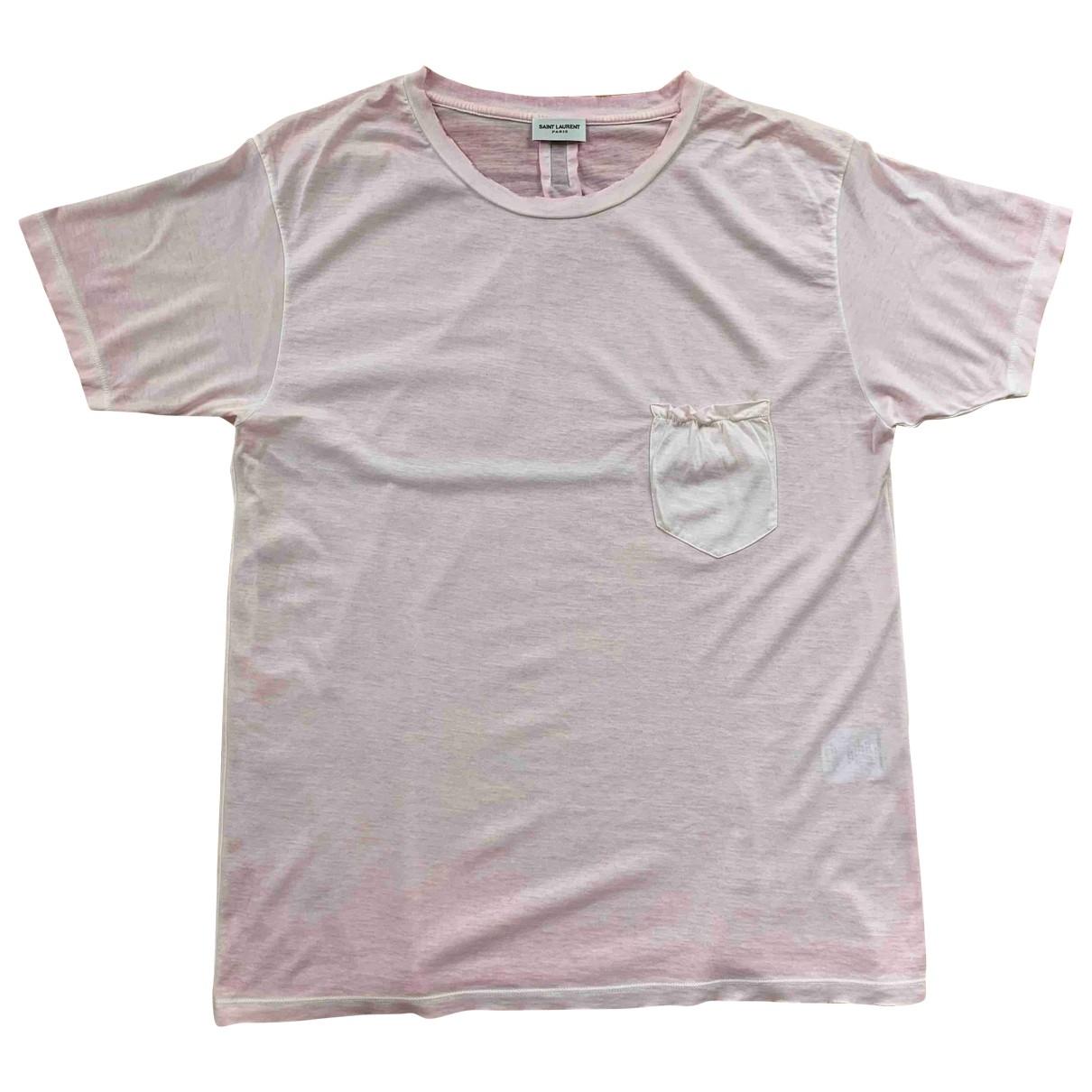 Saint Laurent \N Pink Cotton T-shirts for Men L International