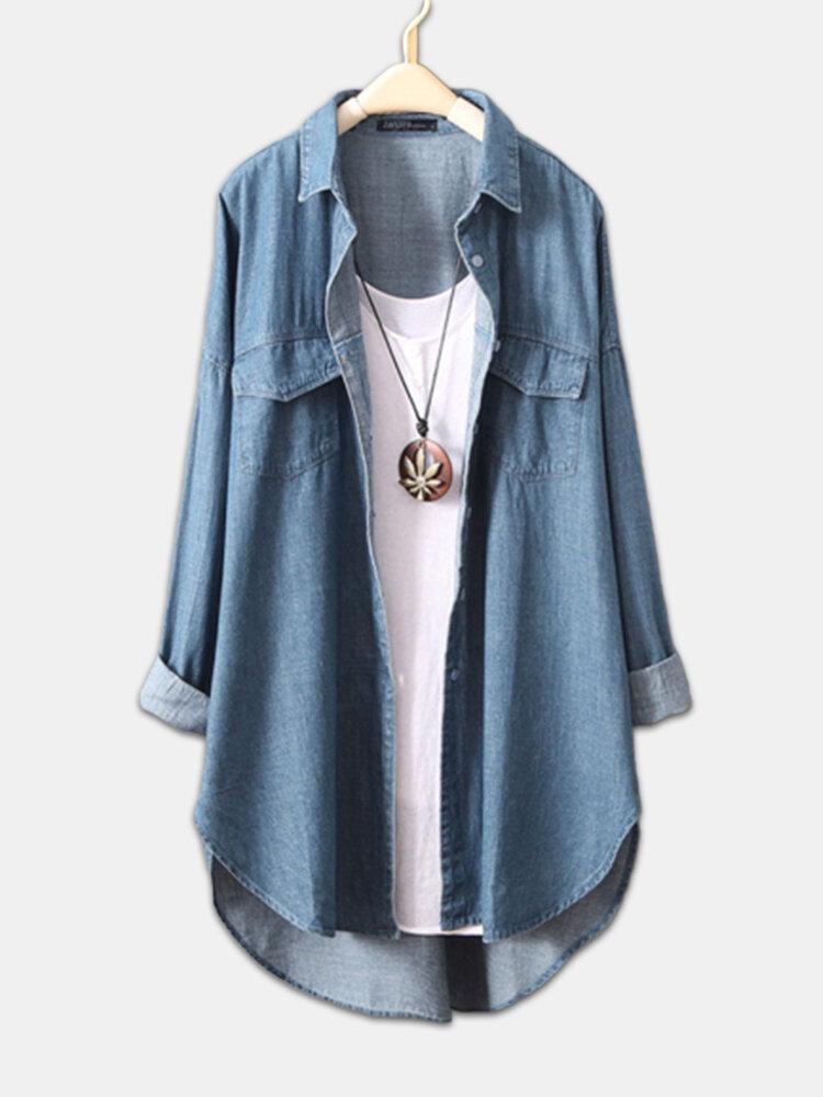 Denim Asymmetrical Long Sleeve Plus Size Shirt for Women
