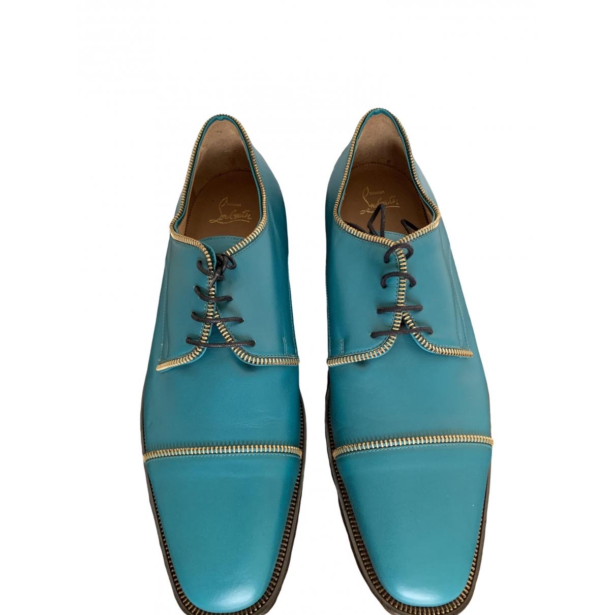 Christian Louboutin - Derbies   pour homme en cuir - turquoise