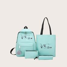 4pcs Girls Cartoon Graphic Bag Set