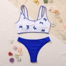 Butterfly Print Whip Stitch Bikini Swimsuit