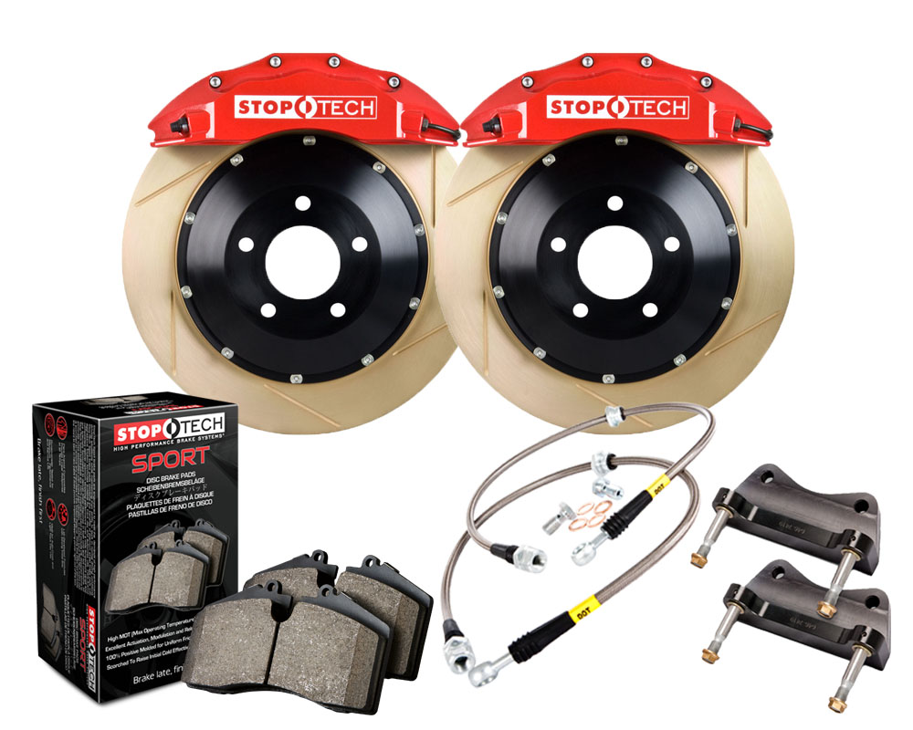 StopTech 83.896.6700.73 Big Brake Kit; Black Caliper; Slotted Two-Piece Rotor; Front Front