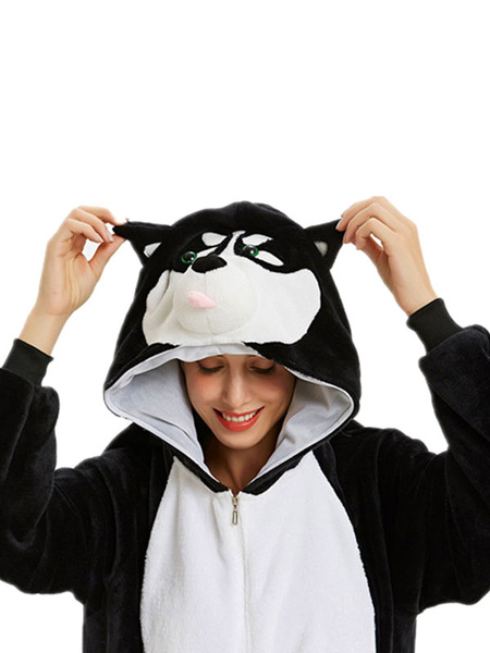 Milanoo Disfraz Halloween Pijama Kigurumi Onesie Huskie Mono de franela gris para adultos Disfraz facil Disfraces de Kigurumi Carnaval Halloween