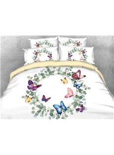 Colorful Butterflies And Garland Soft Lightweight 3D Buffy Duvet Cover Set 4-Piece Bedding Set