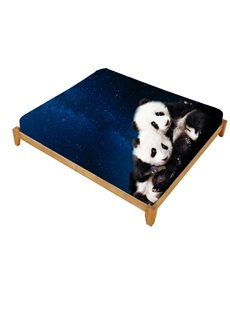 3D Panda and Blue Galaxy Printed Cotton Fitted Sheet