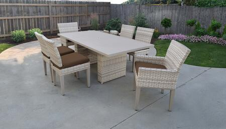 Fairmont Collection FAIRMONT-DTREC-KIT-4ADC2DCC-COCOA Patio Dining Set With 1 Table  4 Side Chairs  2 Arm Chairs - Beige and Cocoa