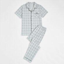 Schlafanzug Set mit Karo Muster und Buchstaben Stickereien
