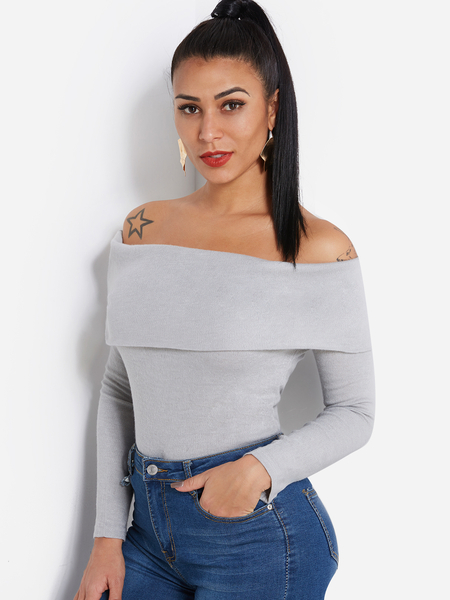 Yoins Grey Tiered Design Off The Shoulder Long Sleeves Top