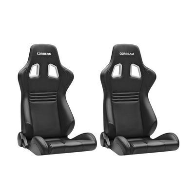 Corbeau Sportline Evolution Seats - Pair (Black/Red Vinyl) - 64901PR