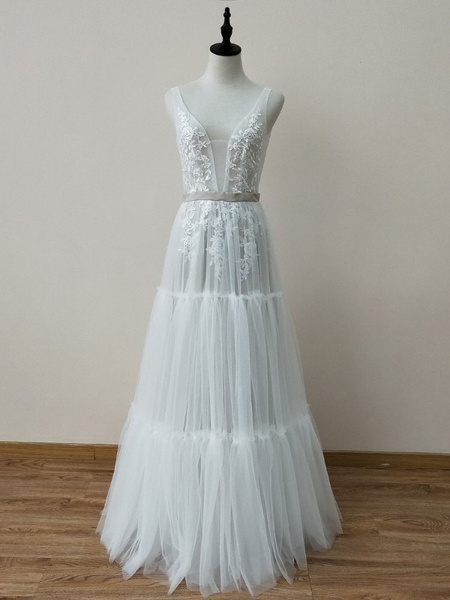 Milanoo Boho Wedding Dresses A Line Deep V Neck Floor Length Sleeveless Lace Backless Bridal Gowns