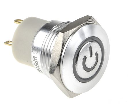 RS PRO Single Pole Single Throw (SPST) Momentary White LED Push Button Switch, IP67, 16 (Dia.)mm, Panel Mount, Power (20)