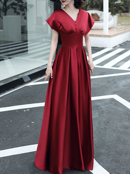Milanoo Evening Dress A-Line V-Neck Floor-Length Short Sleeves Lace-up Buttons Satin Fabric Social Party Dresses