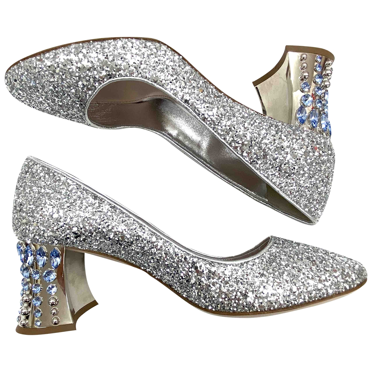 Miu Miu \N Silver Glitter Heels for Women 36 EU