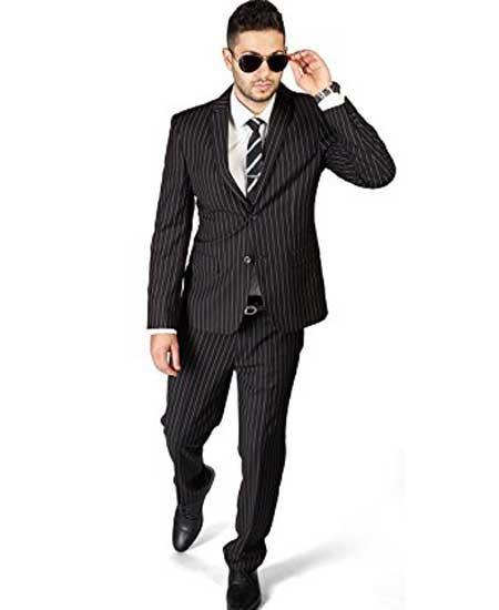 Mens Cotton Black 2 Button Pinstripe Notch Lapel Flat Front Pants Suit